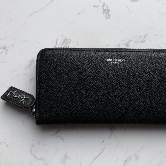22d41109f8 YSL Saint Laurent Leather Zip Wallet NWT
